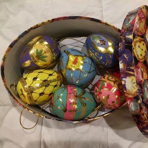 Paper Mache Egg Ornaments in Original Box-SALE!